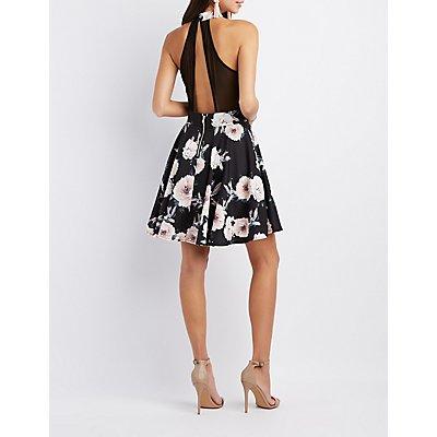 Floral Mesh-Trim Skater Dress