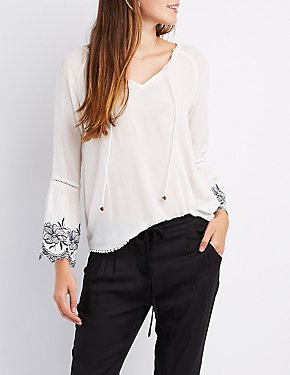 Crochet-Trim Floral Embroidered Bell Sleeve Top
