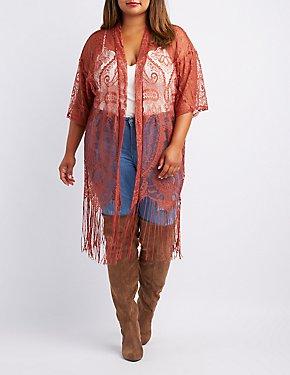 Plus Size Lace Fringe-Hem Kimono