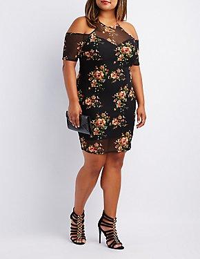 Plus Size Floral Mesh Cold Shoulder Dress