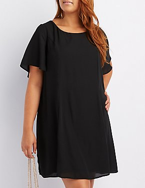 Plus Size Open-Back Shift Dress