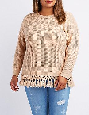 Plus Size Tassel Fringe Sweater