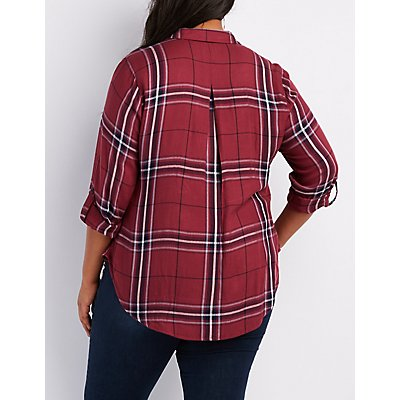 Plus Size Embroidered Plaid Button-Up Shirt