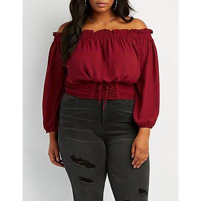 Plus Size Off-The-Shoulder Lace-Up Detail Top
