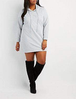 Plus Size Feminista Hooded Sweater Dress