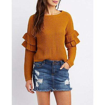 Shaker Stitch Ruffle-Trim Cropped Sweater