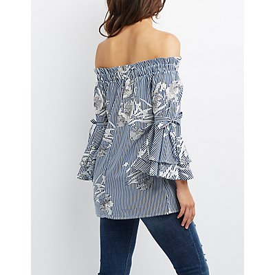 Floral & Striped Off-The-Shoulder Bell Sleeve Top