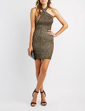 Glitter Halter Bodycon Dress