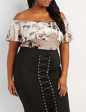 Plus Size Floral Velvet Ruffle Off-The-Shoulder Bodysuit
