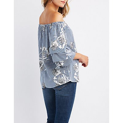 Printed Ruched Sleeve Off-The-Shoulder Top