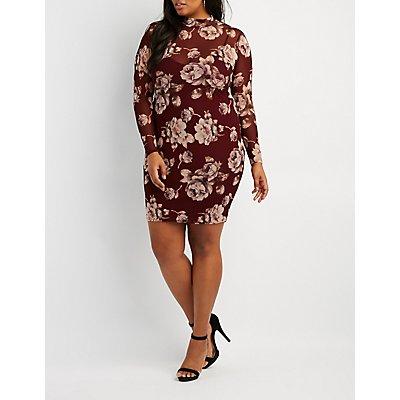 Plus Size Floral Mesh Mock Neck Bodycon Dress