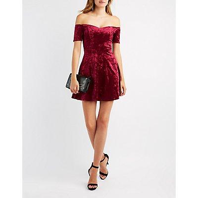 Velvet Off-The-Shoulder Skater Dress