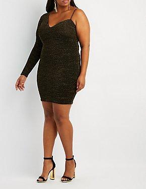 Plus Size Shimmer Knit Asymmetrical Shoulder Bodycon Dress
