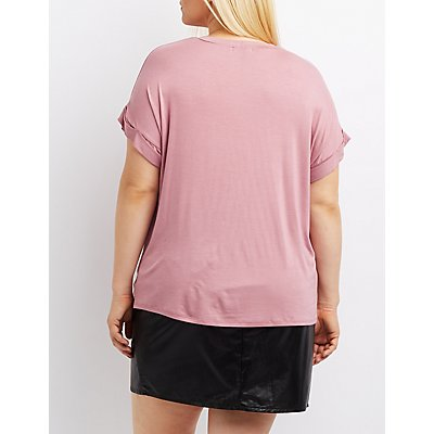 Plus Size Distressed Mesh-Inset Tee