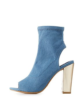 Bamboo Metallic-Heel Sock Booties