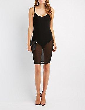 Strappy Mesh Overlay Bodycon Dress