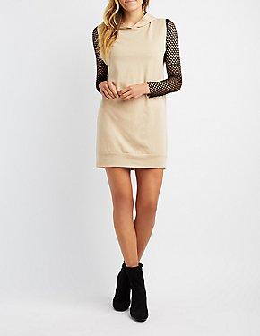 Mesh Combo Hooded Sweatshirt Dress