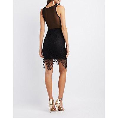 Lace & Mesh-Trim Bodycon Dress