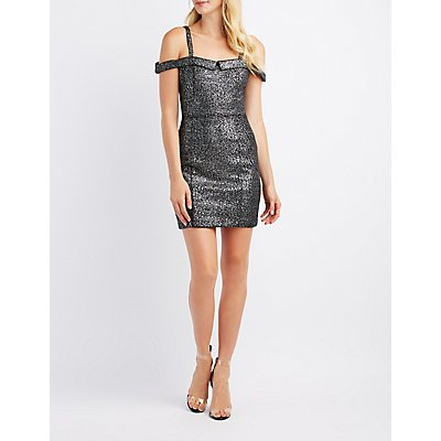 Shimmer Cold Shoulder Bodycon Dress