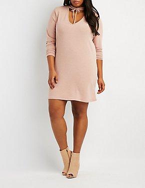 Plus Size Lace-Up Choker Neck Sweater Dress