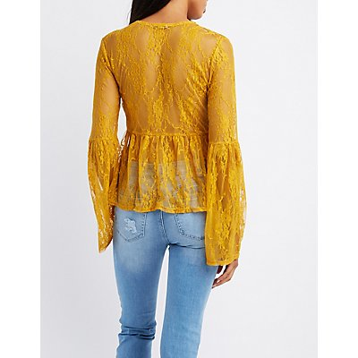Lace Bell Sleeve Lace-Up Top