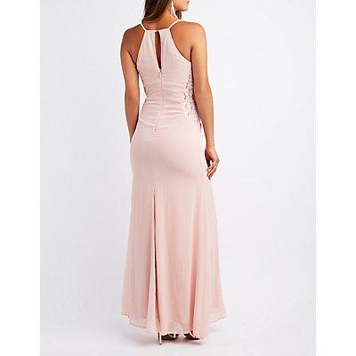 Lace-Trim Racerback Maxi Dress