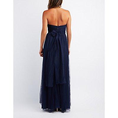 Pleated Strapless Maxi Dress