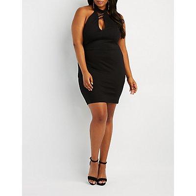 Plus Size Caged Choker Neck Bodycon Dress