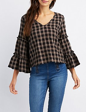 Plaid Ruffle-Trim Bell Sleeve Tie-Back Top