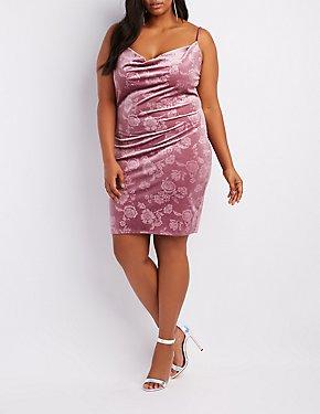 Plus Size Floral Velvet Cowl Neck Bodycon Dress