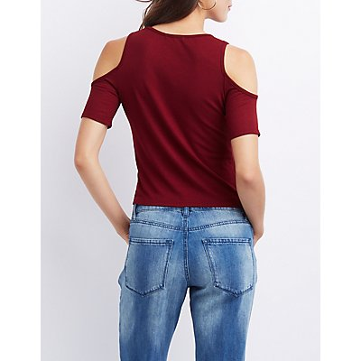 Ribbed Lace-Up Detail Cold Shoulder Top