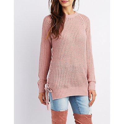 Lace-Up Shaker Stitch Sweater