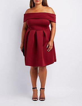 Plus Size Off-The-Shoulder Scuba Skater Dress