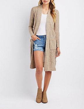 Shaker Stitch Open-Front Cardigan