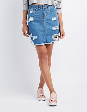 Machine Jeans Destroyed Denim Skirt