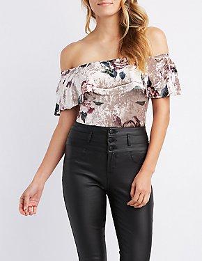 Floral Velvet Ruffle Off-The-Shoulder Bodysuit