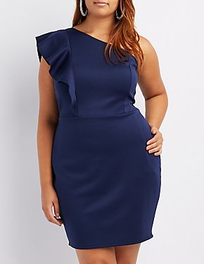 Plus Size Ruffle-Trim One-Shoulder Skater Dress