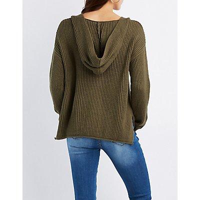 Shaker Stitch Destroyed Hoodie Sweater