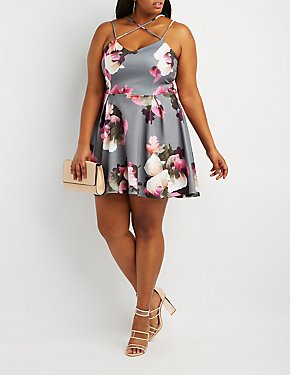 Plus Size Floral Strappy-Back Skater Dress