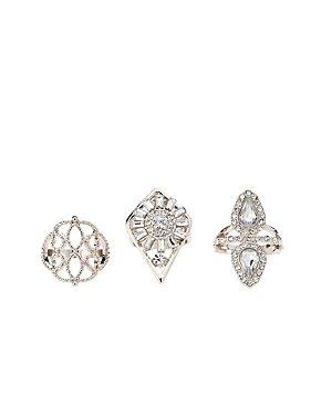Embellished Shield Rings - 3 Pack