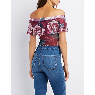 Floral Mesh Off-The-Shoulder Bodysuit