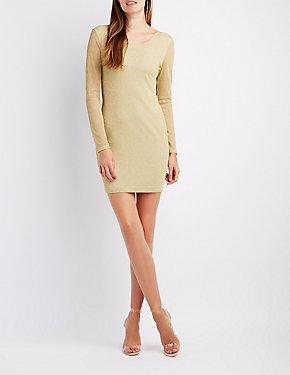 Shimmer Knit Open-Back Bodycon Dress