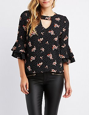Printed Keyhole Ruffle-Trim Bell Sleeve Top
