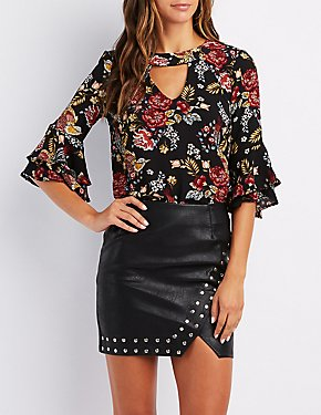 Floral Ruffle-Trim Cut-Out Top