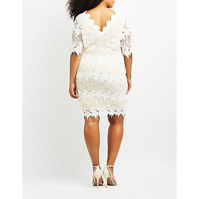 Plus Size Crochet Dolman Bodycon Dress