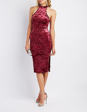 Velvet Mock Neck Bodycon Midi Dress