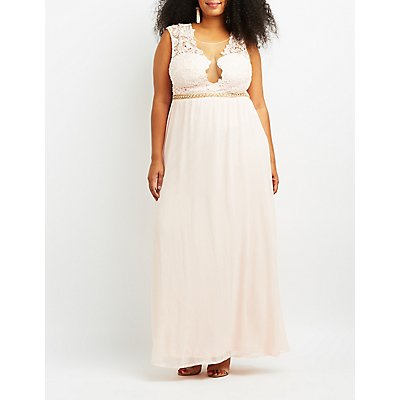Plus Size Lace Bodice Maxi Dress