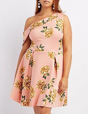 Plus Size Floral One-Shoulder Skater Dress