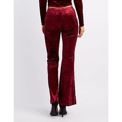 Crushed Velvet Flare Pants