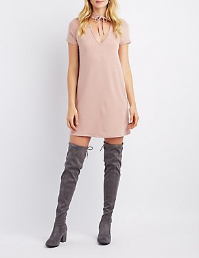 Lace-Up Neck T-Shirt Dress